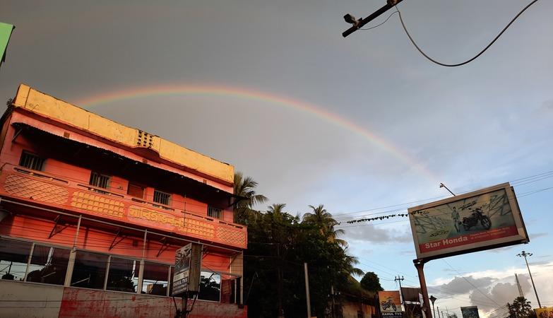 A Rainbow Appears In The Sky After Rainfall In Krishnagar