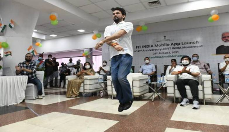 Sports Minister Anurag Thakur launches the Fit India Mobile App on National Sports Day today